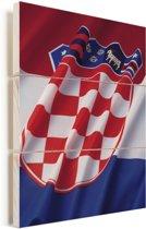 Close-up van de vlag van Kroatië Vurenhout met planken 60x80 cm - Foto print op Hout (Wanddecoratie)