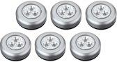 Luxe Zilveren Zelfklevende LED Druklampen Set - 6 Stuks | Werkt Zonder Stopcontact |3 LED per Mini Spot Lamp | Push Light | Druk Lamp | Licht voor Voorraadkasten | Tenten | Auto's en Boten