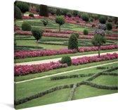 De tuin van het Kasteel van Chenonceau Canvas 140x90 cm - Foto print op Canvas schilderij (Wanddecoratie woonkamer / slaapkamer)