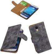 Samsung Galaxy S4 Mini - Mini Slang Grijs Bookstyle Wallet Hoesje