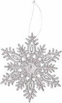 Kersthanger sneeuwvlok zilver glitter type 3 - zilveren kerstversiering