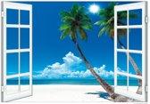 Poster Strand raam palmen tropisch luxe papier 70x100cm.