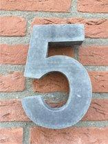 Grote betonnen huisnummer, Hoogte 25cm, huisnummer beton cijfer 5