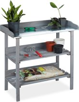 relaxdays oppottafel - plantentafel - tuinwerktafel - werktafel - tuin - plantenrek grijs