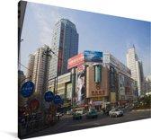 De straten van het Aziatische Lanzhou in China Canvas 180x120 cm - Foto print op Canvas schilderij (Wanddecoratie woonkamer / slaapkamer) XXL / Groot formaat!