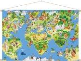 Kinder wereldkaart op schoolplaat dieren muurdecoratie 60x40 cm platte latten - Wereldkaarten.nl