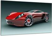 Glasschilderij Auto | Rood, Zwart, Wit | 120x70cm 1Luik | Foto print op Glas |  F000682
