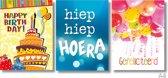 3x Dubbele A4 kaart met envelop - Happy Birthday - Hoera - Gefeliciteerd - Formaat: 235 x 310 mm