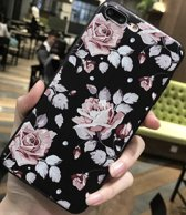 Luxe Bloemen Flower Cover | iPhone 7 Plus | iPhone 8 Plus | Siliconen TPU | Soft case zacht | Roze - Zwart hoesje