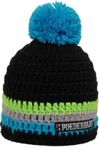 Poederbaas kleurrijke muts - blauw/zwart/groen/grijs, apres-skimuts, skimuts, wintersportmuts