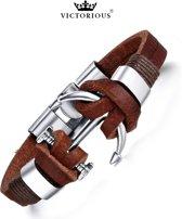 Victorious - Bruin Lederen Armband - Zilverkleurige RVS Anker - Geschikt voor polsdikte: +/- 16cm