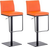 Clp Panama - Set van 2 barkrukken - Kunstleer - Oranje Zwart
