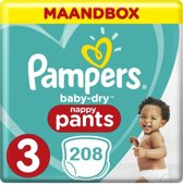 Pampers Baby Dry Pants Maat 3 - 208 Luiers Maandbox XXL