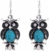 Fako Bijoux® - Oorbellen - Tibetaanse Stijl - Turquoise - Uiltjes