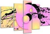 Glasschilderij Art | Paars, Zwart, Geel | 170x100cm 5Luik | Foto print op Glas |  F005567