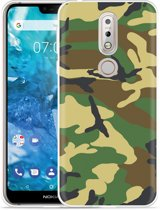 Nokia 7.1 Hoesje Army Camouflage Green
