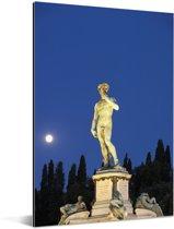 Volle maan achter het David standbeeld in Florence Aluminium 80x120 cm - Foto print op Aluminium (metaal wanddecoratie)