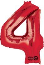 Rood Cijfer 4 Ballon 86cm Folie