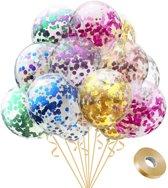 Fissaly® 30 stuks Gekleurde Confetti Helium Ballonnen met Lint – Decoratie – Latex