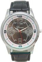 Geneva herenhorloge groot horlogekast zwart I-deLuxe verpakking