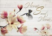 Fotobehang Flowers Bird Wood Planks Home | XXL - 312cm x 219cm | 130g/m2 Vlies