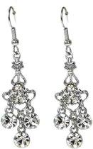 Behave® Oorbel hanger zilver kleur met steentjes 5,5 cm