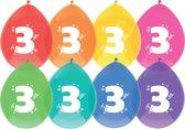 Ballonnen  3 jaar - 8 stuks - assorti kleuren