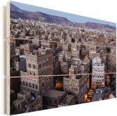 Zonsopkomst boven binnenstad Sanaa in Jemen Vurenhout met planken 30x20 cm - klein - Foto print op Hout (Wanddecoratie)