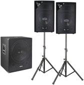 """Vonyx actieve 2.1 geluidsinstallatie 1600W met 18"""" actieve subwoofer, 12"""" speakers en een set statieven"""