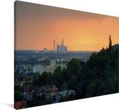 Kleurrijke lucht boven de Duitse stad Mannheim Canvas 140x90 cm - Foto print op Canvas schilderij (Wanddecoratie woonkamer / slaapkamer) / Europese steden Canvas Schilderijen