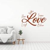 Muursticker Love Hope, Laugh, Believe, Inspire, Together -  Bruin -  60 x 40 cm  - Muursticker4Sale