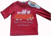 Rood shirt van Peppa Big, Peppa George maat 128