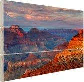 Mather Point zonsondergang Grand Canyon Hout 80x60 cm - Foto print op Hout (Wanddecoratie)