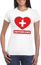 Zwitserland hart vlag t-shirt wit dames M
