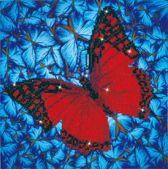Diamond Dotz Rode Vlinder (38x38 cm) - Diamond Painting