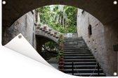 Trappen in de oude stad van Rhodos Tuinposter 60x40 cm - klein - Tuindoek / Buitencanvas / Schilderijen voor buiten (tuin decoratie)