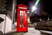 Rode Engelse telefooncel in de avond / nacht in Londen met de Big Ben erachter | stad, sfeer, modern | Foto schilderij print op Dibond / Aluminium (metaal wanddecoratie) | 150x100cm