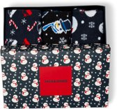 Jack & Jones - Heren 3-Pack Snowman Giftbox Sokken Zwart - One size
