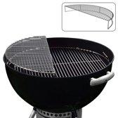 RVS Opwarm / Grill/ Rook uitbreidingsrooster - Voor gebruik met 57 CM Kettle BBQ's (past o.a. op alle Weber kogel BBQ's)