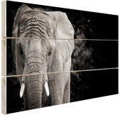 Olifant zwart-wit Hout 60x40 cm - Foto print op Hout (Wanddecoratie)
