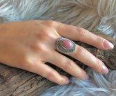 Zilveren ring Rhodoniet