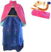 Prinses Anna roze jurk maat 128/134 cape, staf, kroon, handschoenen, vlecht - verkleedkleding (labelmaat 140)