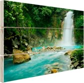 FotoCadeau.nl - Rio Celeste waterval Hout 60x40 cm - Foto print op Hout (Wanddecoratie)