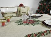 Tafelkleed - luxe gobelin - Christmas Flowers - Kerst - Vierkant 100 x 100 cm