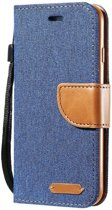 Luxe Apple iPhone 7 - iPhone 8 Wallet Book Case Denim Blauw Cover - Spijkerstof Hoes