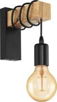 EGLO Townshend - wandlamp - 1-lichts - zwart/eikenhout