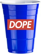 50 Blue Cups Dope Design - 500ml Blauwe Party Bekers dubbelzijdig bedrukt - Original Beer Pong