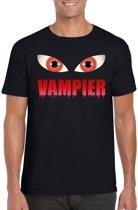Halloween - Halloween vampier ogen t-shirt zwart heren - Halloween kostuum S