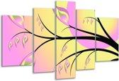 Glasschilderij Boom | Paars, Groen, Zwart | 170x100cm 5Luik | Foto print op Glas |  F005570
