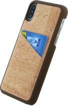 Pelcor Backcover Met Pasjeshouder iPhone XS / X - Bruin/Zwart